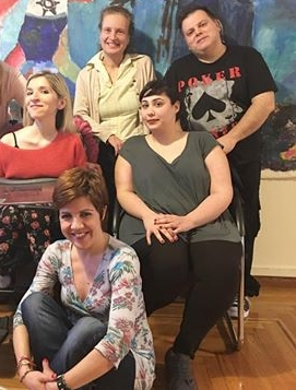 Anna Kapousizi with some of the MDA Hellas acting group of ARTimeleia Theater (April 2016)
