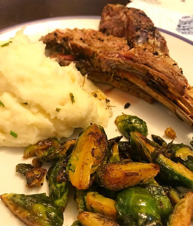 Lamb chops, mashed potatoes and brussel sprouts 😋not much clean up thanks to the Spoon Buddy!