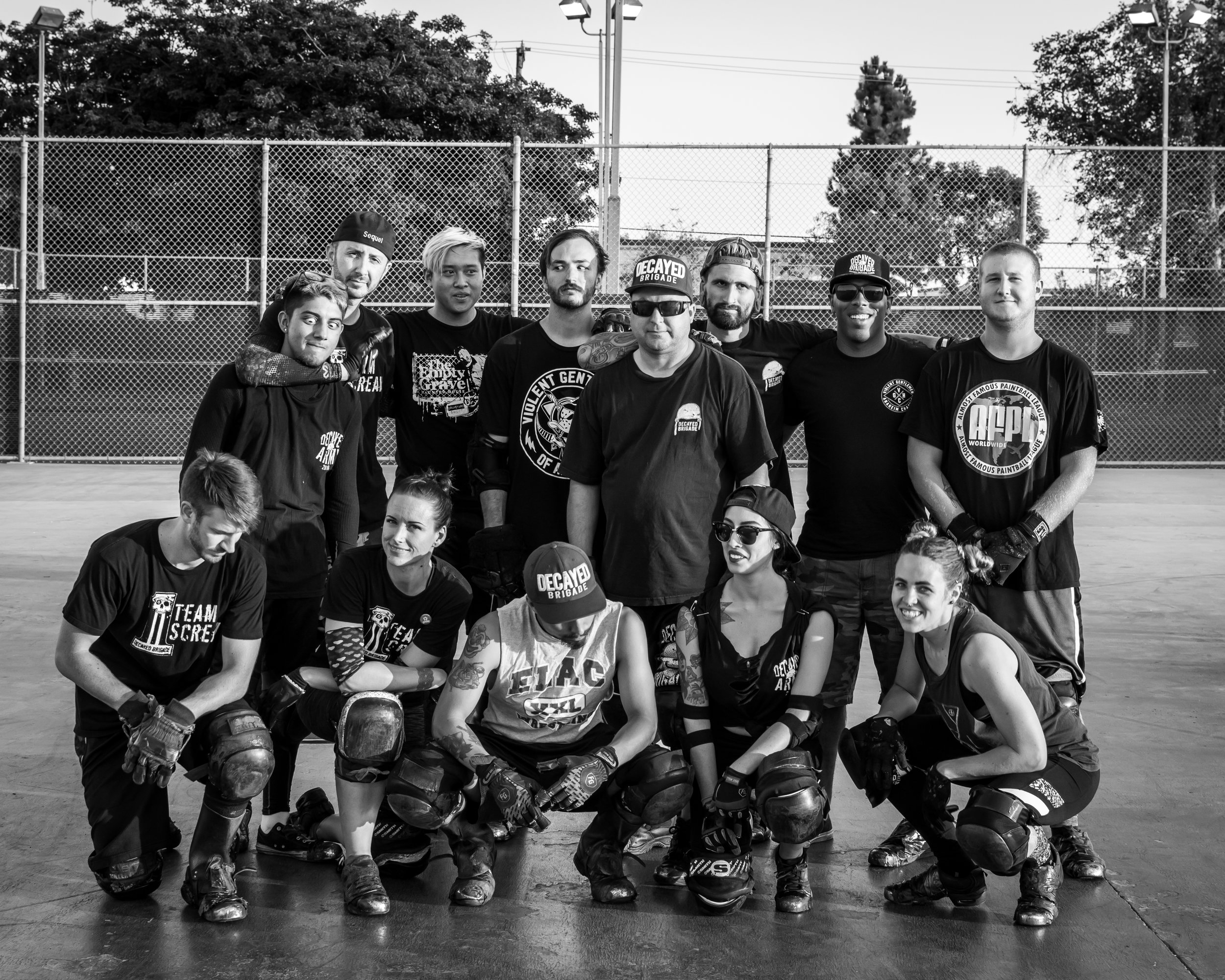 Top Row: James Contreras, Chase McCullough, Sebastian Lam, Trey Yasger, Jeremy Shumake, Michael Stewart, Greg Daniels, Andrew Mummert Bottom Row: Eric Saunders, Veronica Nihart, Elijah Padilla, Naomi Haro, Ruth Duckworth    The Decayed Brigade is a group of dedicated, hard working men and women who put on high energy shows at various Halloween conventions that include choreographed routines, spins, sliding under bars and jumping over fellow Brigade members. They constantly push the envelope and challenge each other to go bigger and faster with their tricks and jumps. What started as a scare tactic at Knott's Scary Farm several years ago has turned into a fascinating spectacle of tricks that draw huge crowds at events such as  www.midsummerscream.org  and Scare LA. Their show gets bigger and bigger each year. Last year at one of the events, a group record was set when one of the members slid and jumped 11 other members of the Brigade while they laid side by side on the ground.    Below you will get to meet some of these crazy and fun individuals that make up the Decayed Brigade and learn a little bit about what makes them tick. You'll learn what they feel before a show, how they got started in the Halloween industry and how they prepare for an event. You'll then get a behind the scenes look at the group with some photos from recent practices. Please feel free to leave comments and thoughts regarding this blog, the team, the shows you've seen. We want to hear it all. Thank you and enjoy.