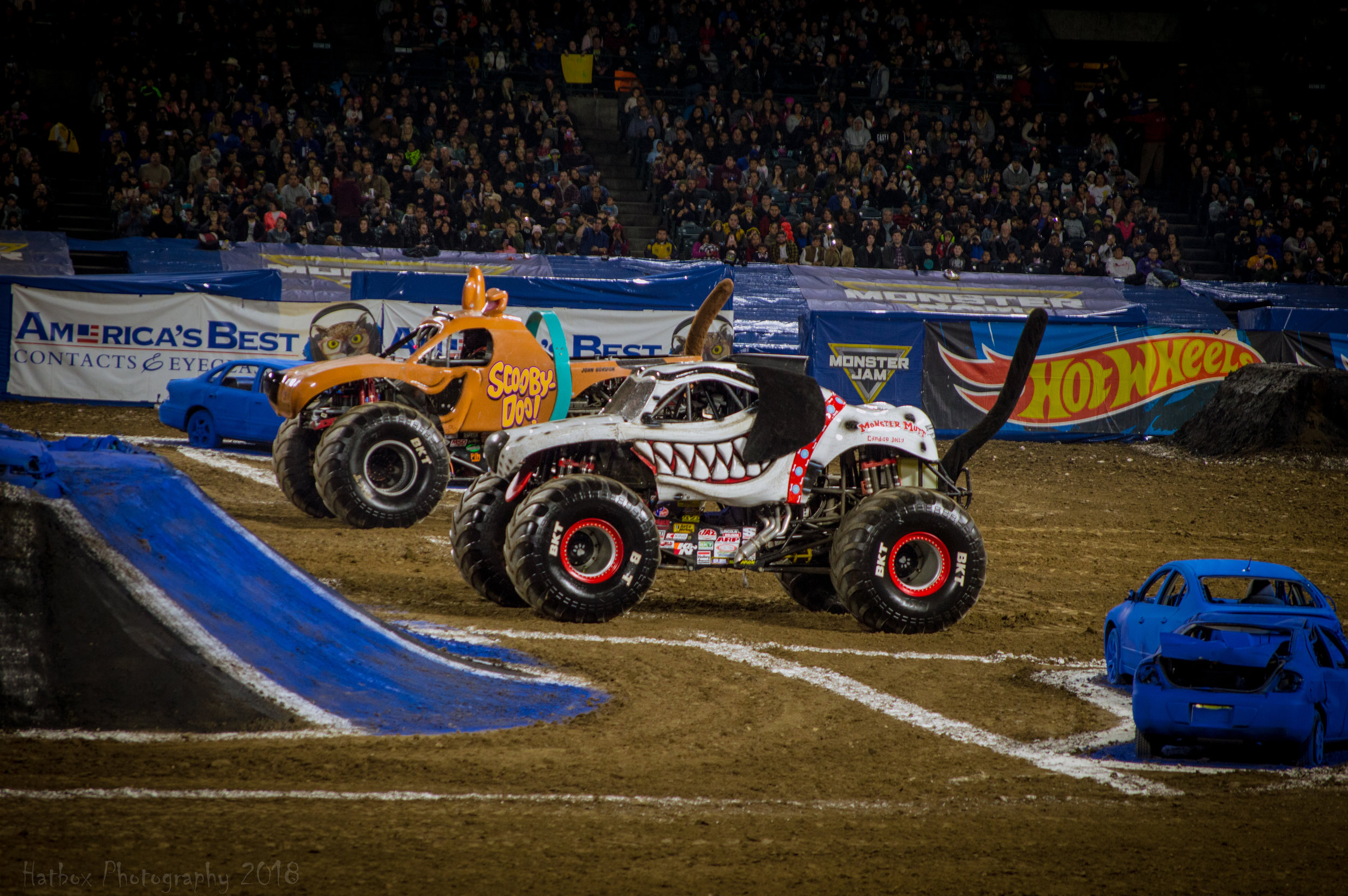 Monster Mutt Dalmatian driven by Candice Jolly gets ready to face Scooby Doo driven by John Gordon. Learn more about Monster Mutt Dalmatian at: https://www.monsterjam.com/en-US/trucks/monster-mutt-dalmatian  and learn more about Scooby Doo at: https://www.monsterjam.com/en-US/trucks/scooby-doo