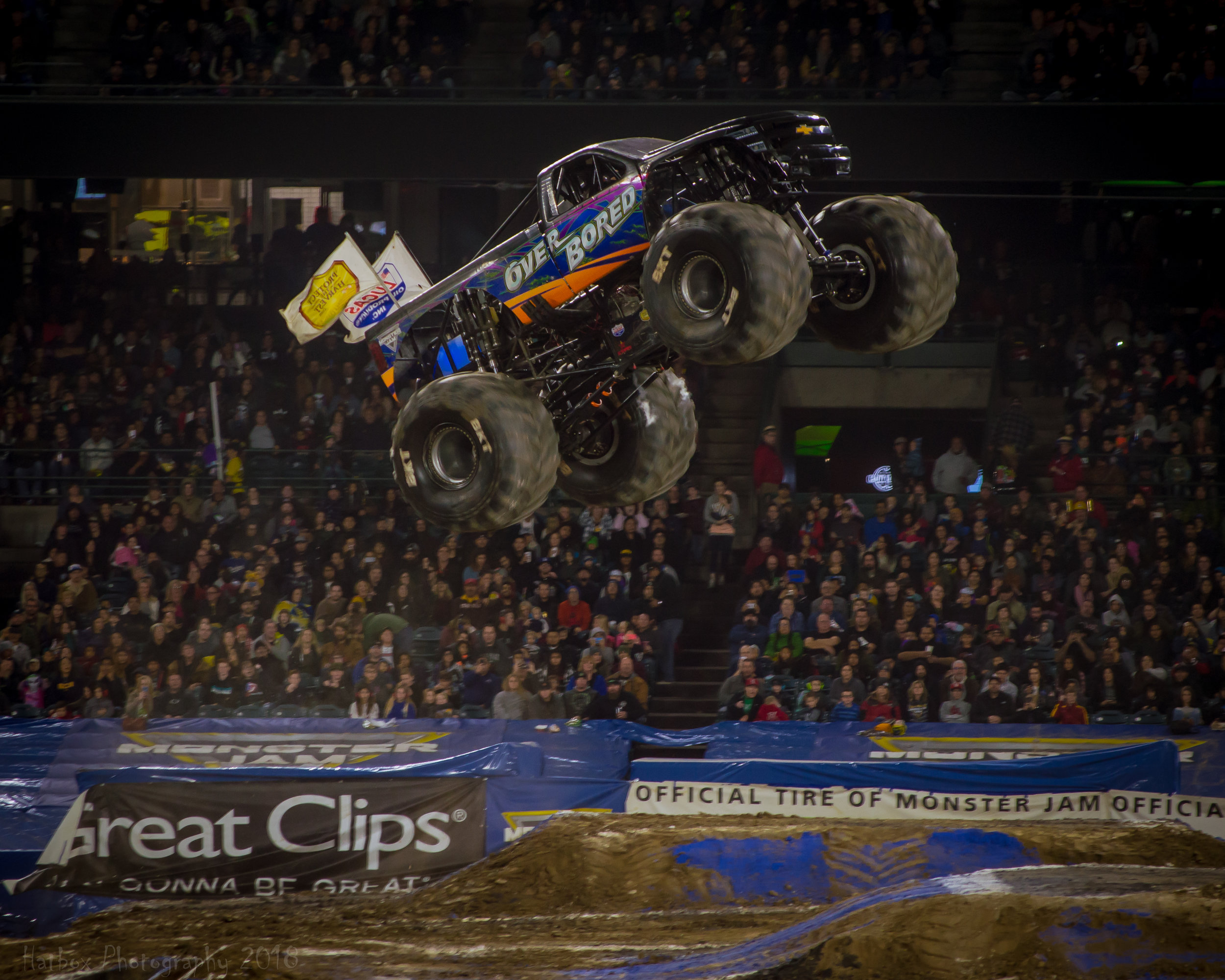 Over Bored driver Jamey Garner getting some big air during freestyle. Visit  https://www.monsterjam.com/en-US/trucks/over-bored  to learn more about Over Bored.