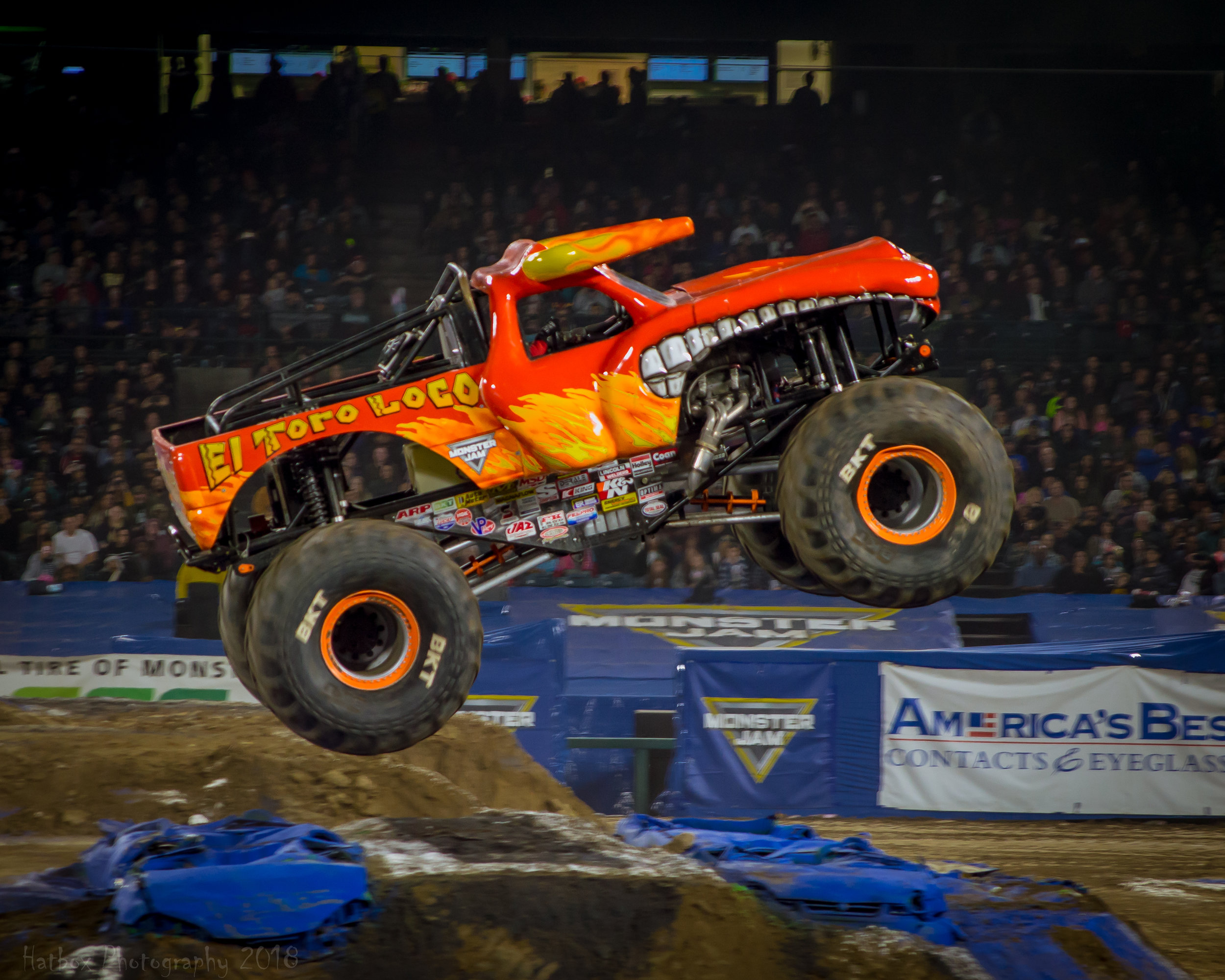 When you talk about exciting trucks to watch during a Monster Jam event, you can't forget about El Toro Loco. This bull lays down monster runs every time it is on the track. We usually see Becky McDonough who is another outstanding female driver, but this year El Toro Loco was driven by Chuck Werner and he didn't disappoint. He put together some trademark tricks of this truck while also thinking outside the box and attempting tricks that no other truck had the guts to try.