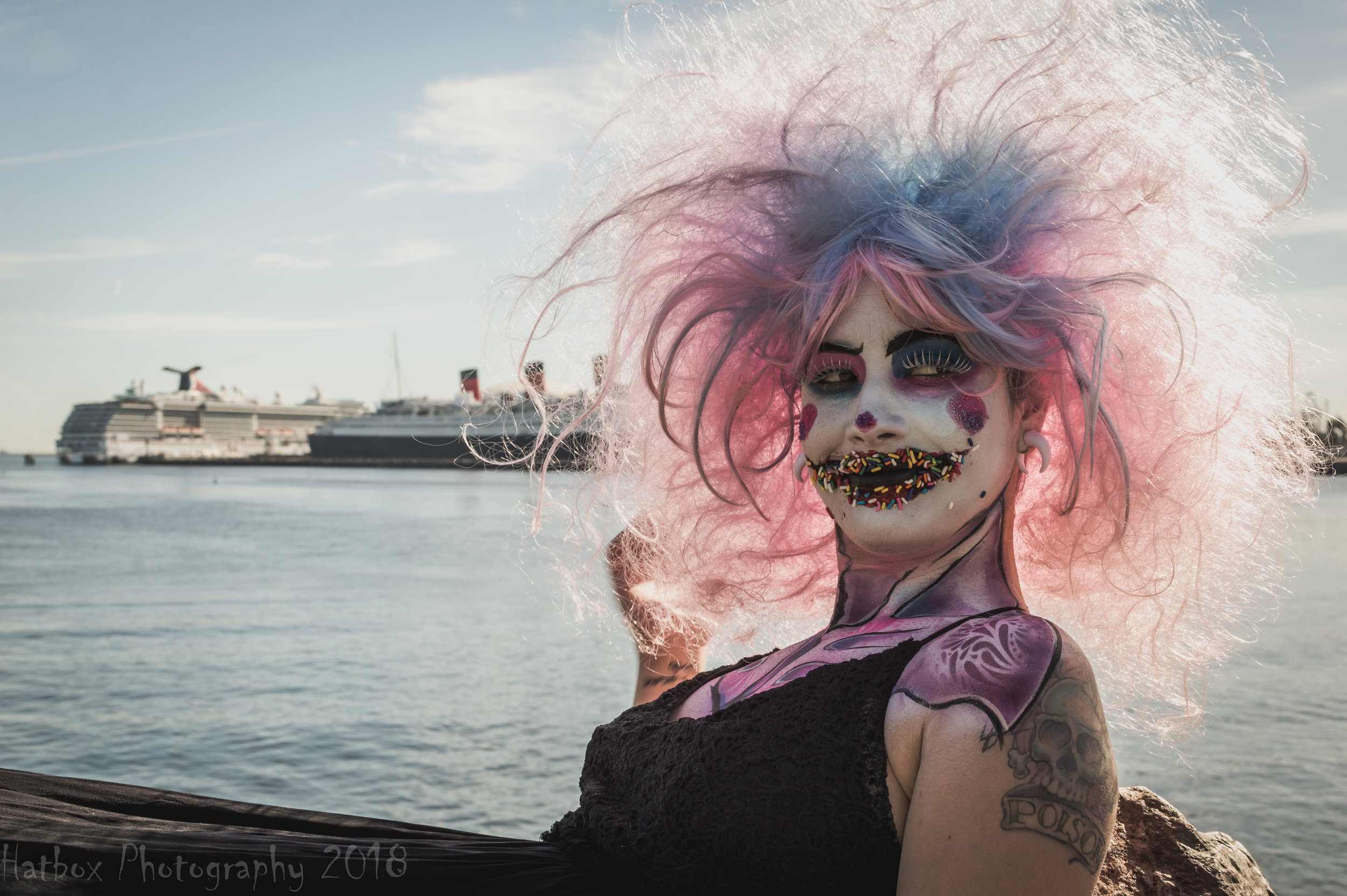 Makeup by the amazingly talented Ericka Acosta (muafxgeek on Instagram). She has done makeup for Knott's Scary Farm and Queen Mary's Dark Harbor. She is also a prop master and body painter. Give her a follow.  Our model is Amanduh (atomic_aerial on Instagram). She is smart, funny, talented and studying to become a dental hygienist. This is the story of how Sprinkles came to be.