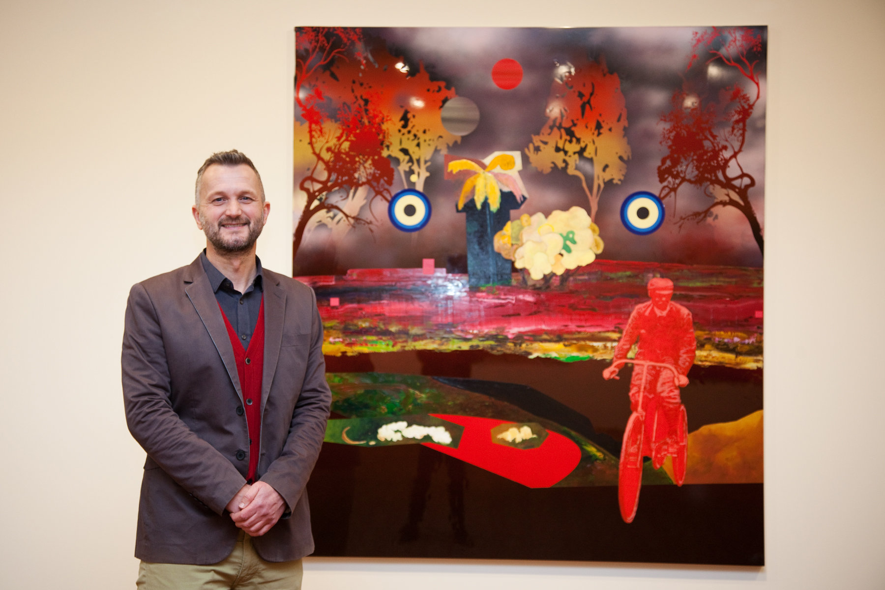"2018 Hadley's Art Prize winner, Neil Haddon picture with his winning artwork titled ""The Visit"". Photo: Jessica King."