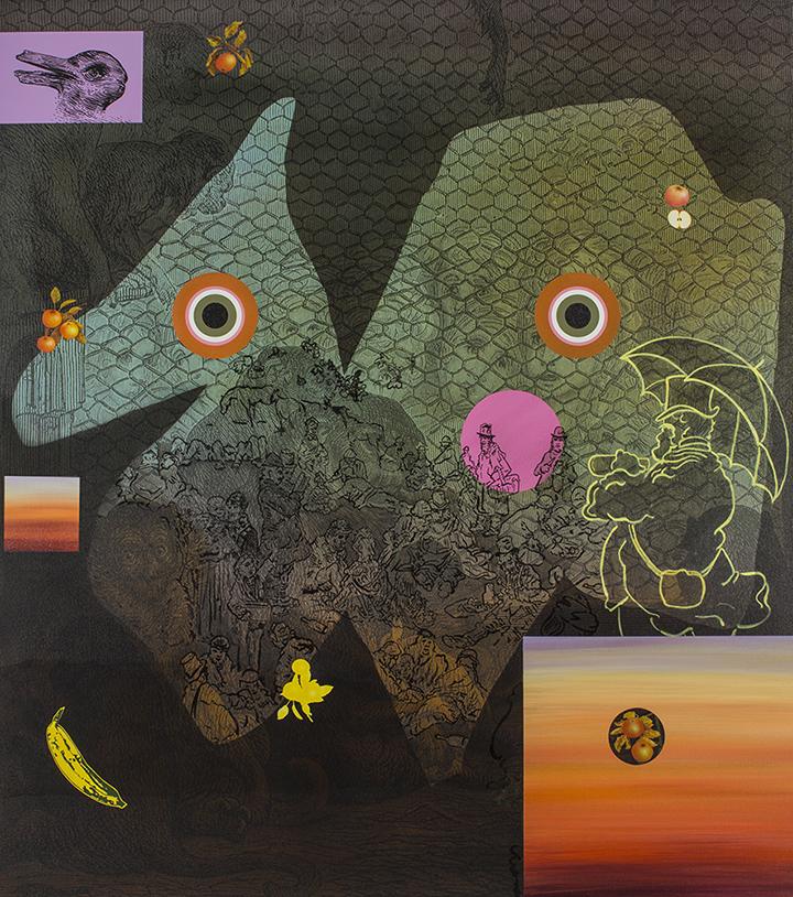 Keep Your Eyes on the Money, 2018, 135 cm x 122 cm, acrylic and digital print on canvas