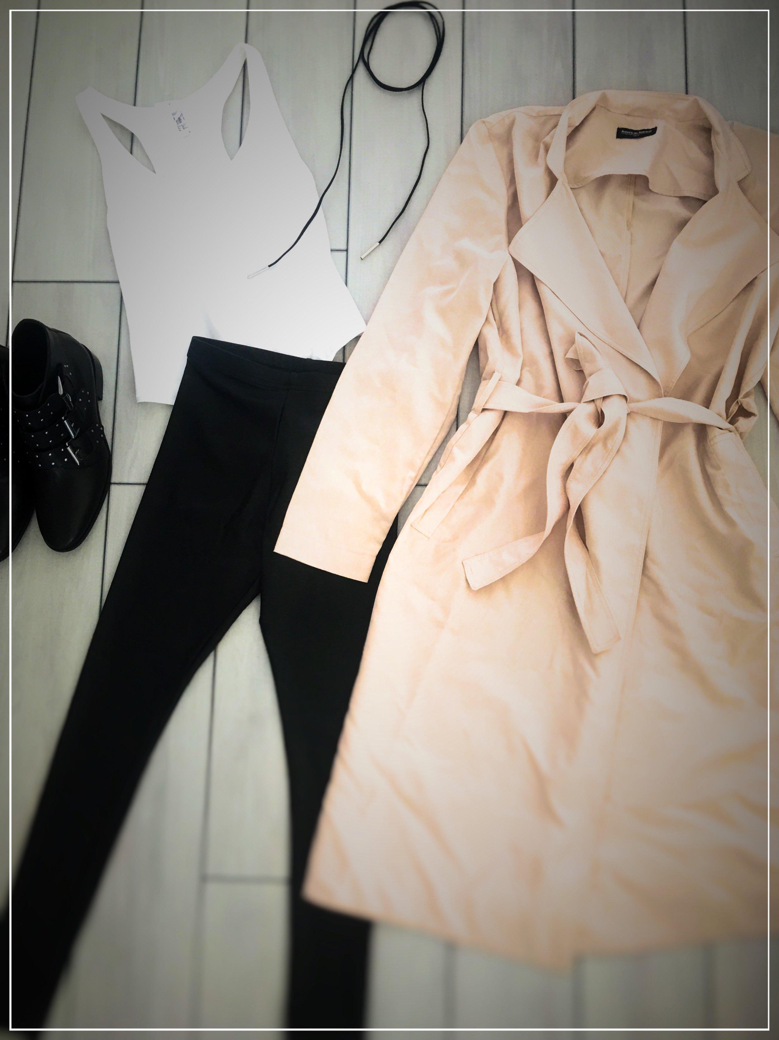 BUY THIS LOOK!  Boots Asos ,  Pants American Apparel,   Bodysuit American Apparel ,  Trench American Apparel ,  String Choker
