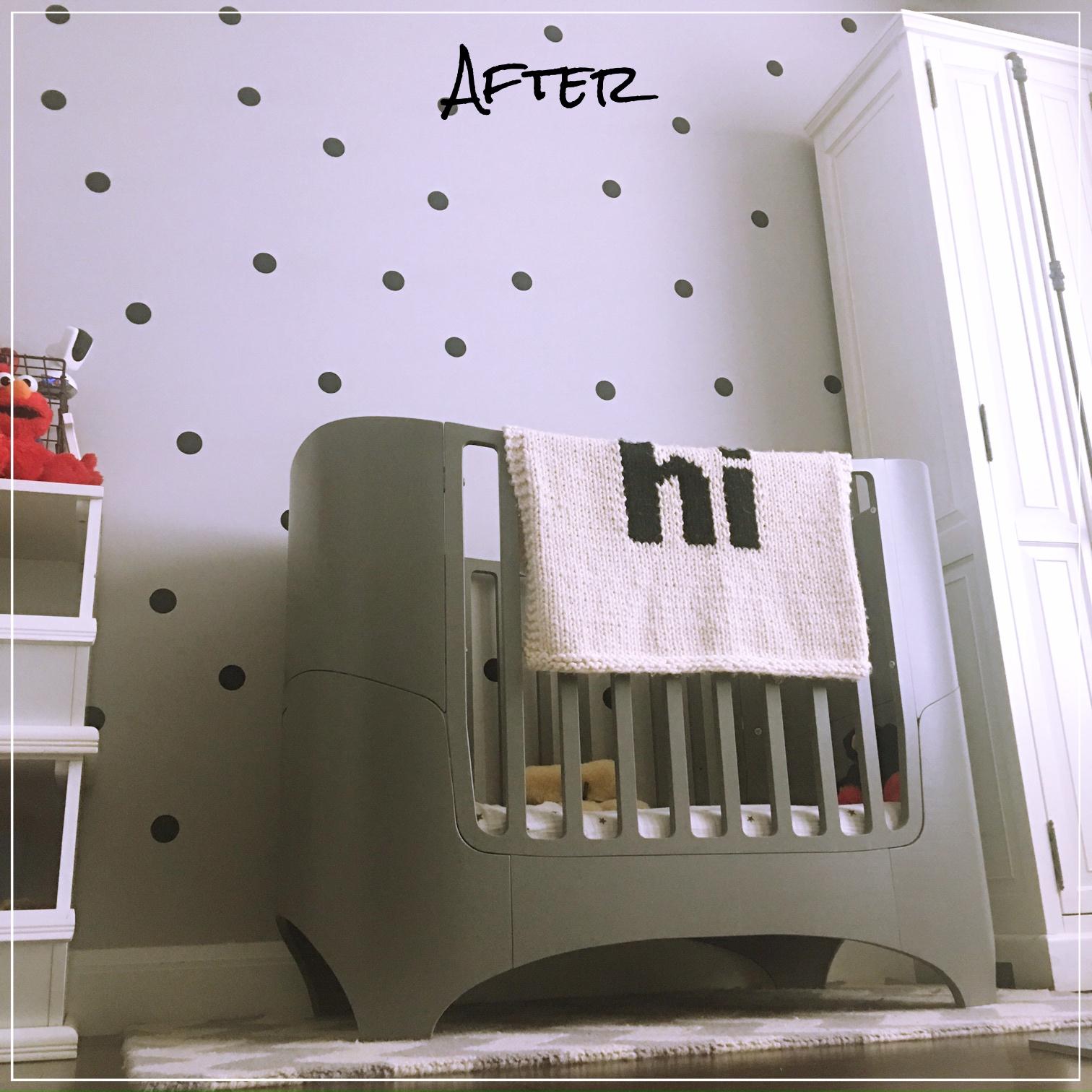 Crib  Leander , Hi Blanket , Tall Hutch  Restoration Hardware , Chevron Rug , Storage Bins, Sheets  Aden & Anais ,  Decals