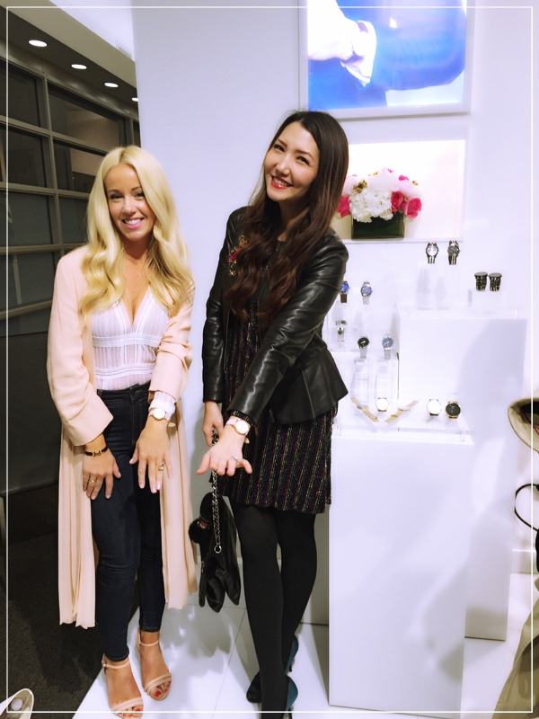 I am wearing the  Blush Pink and Rose Gold Leather Band Watch with my good friend Stella Leo from  Fabgabblog.com