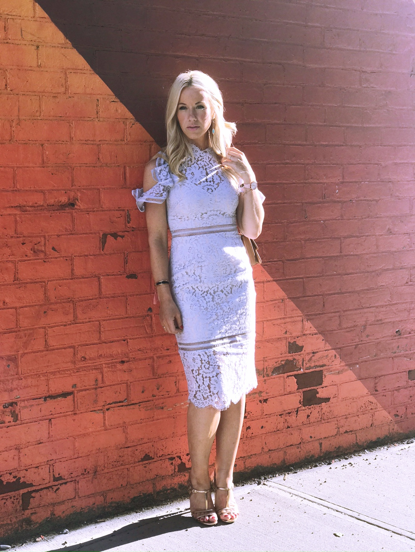 Dress by  Keepsake Shoes  Diane Von Furstenburg Earrings  Michelle Albala Bracelet  Hermes  Bag  Jason Wu Watch  Armitron