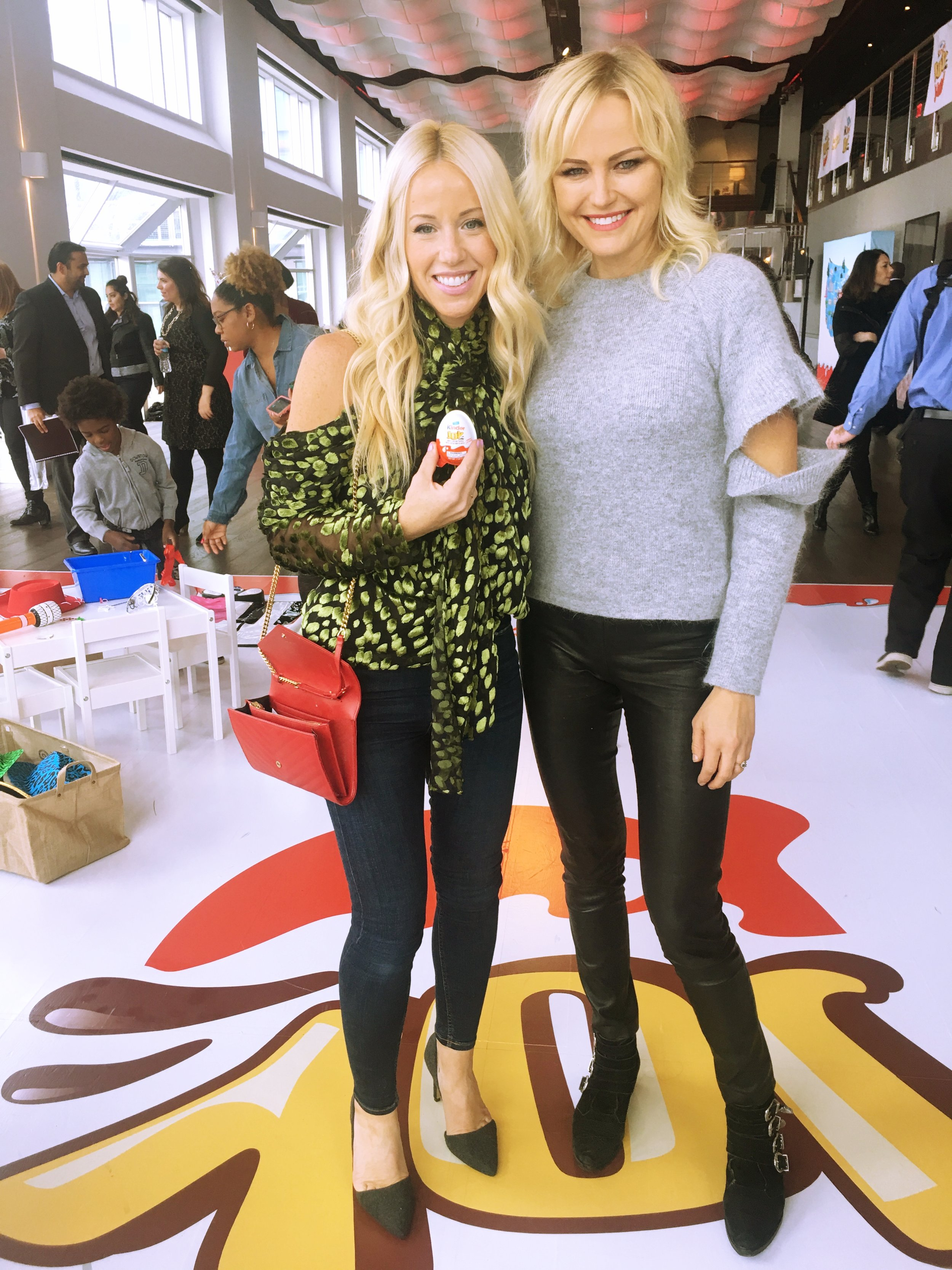 Mary Wassner with Malin Ackerman who loved eating Kinder Joy Eggs as a kid in Sweden.