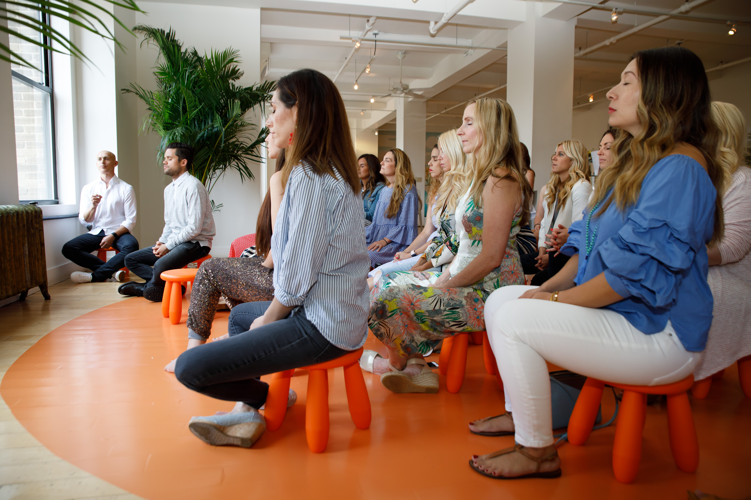 The group getting into the Meditation Session