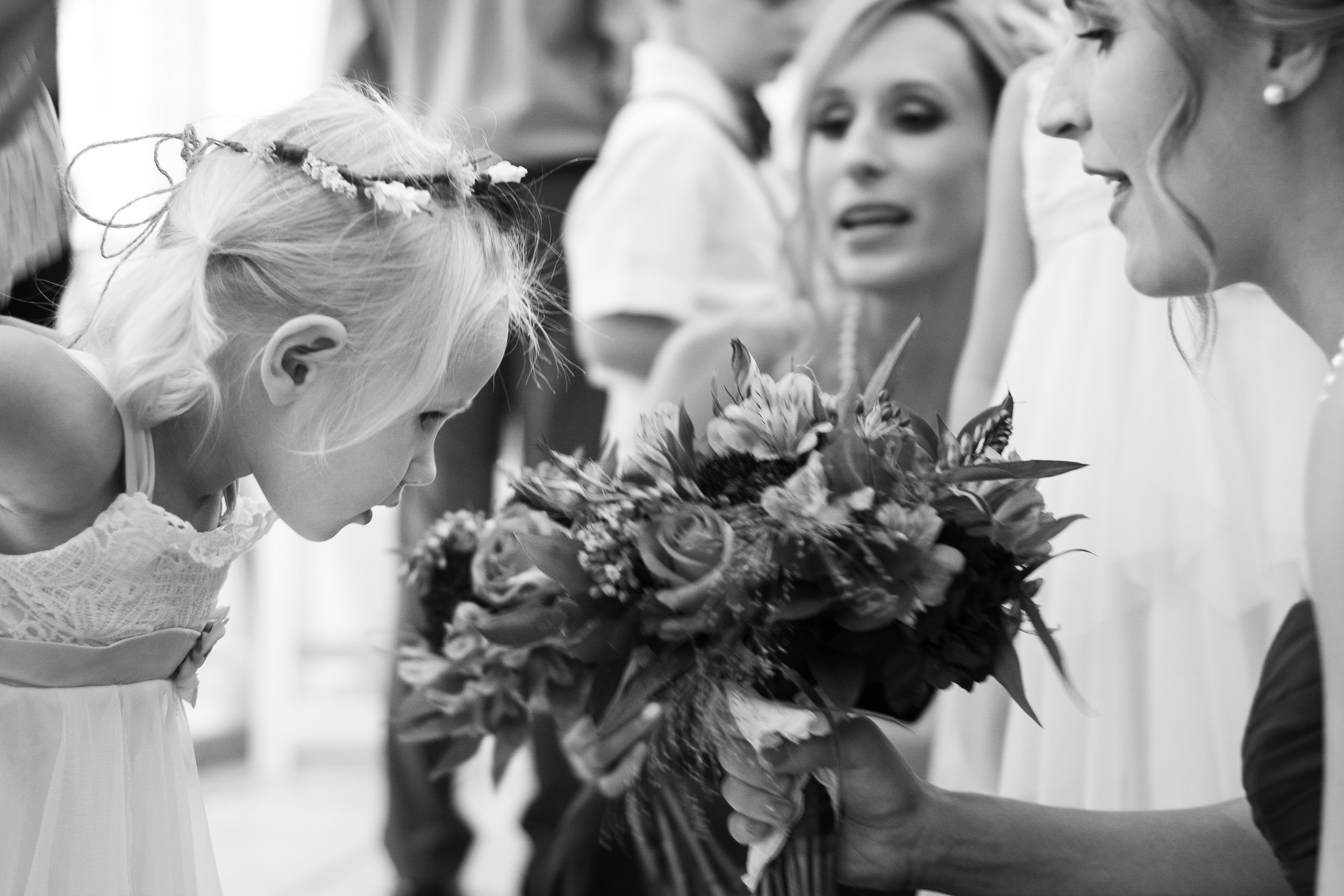 Flower girl in black and white