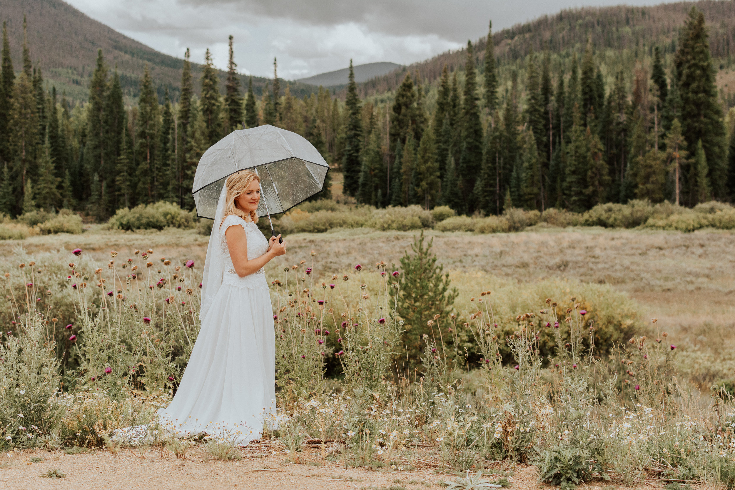 Outdoor Bridal Portrait in the Rain