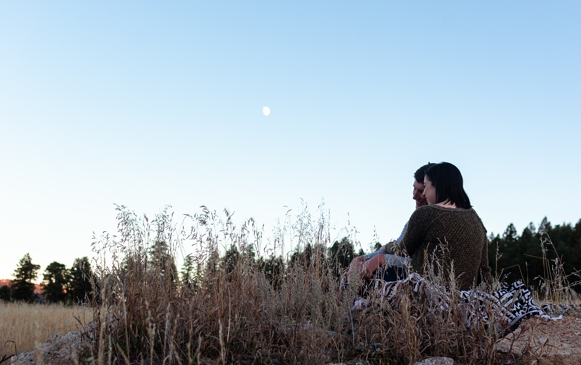 engagement with moonrise