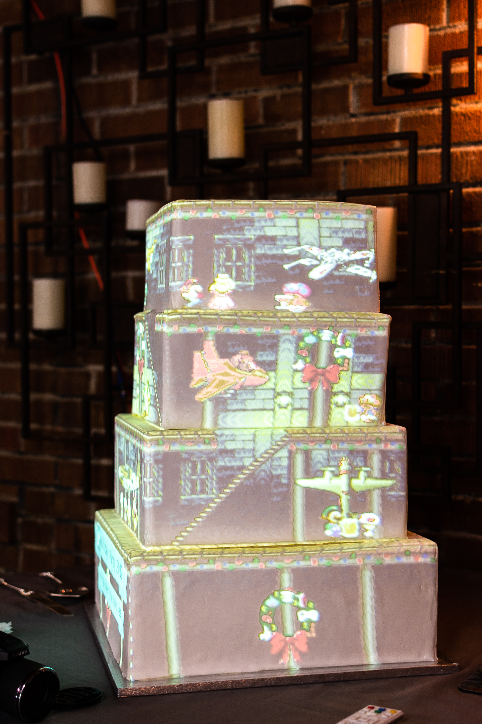 video display on wedding cake