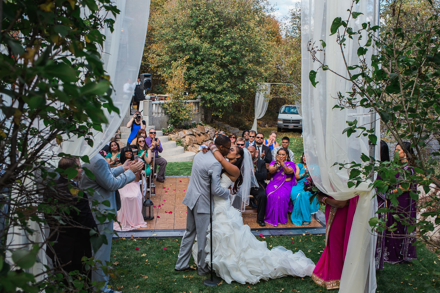 First kiss fall wedding ceremony Salt Lake county photographers