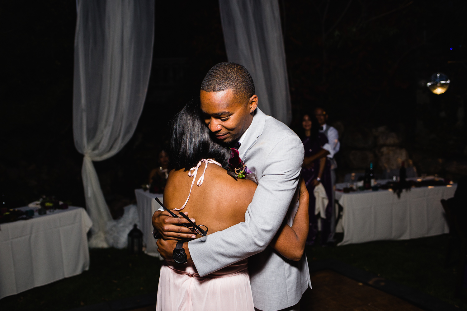 African-American groom and mother dance emotional ethnic wedding