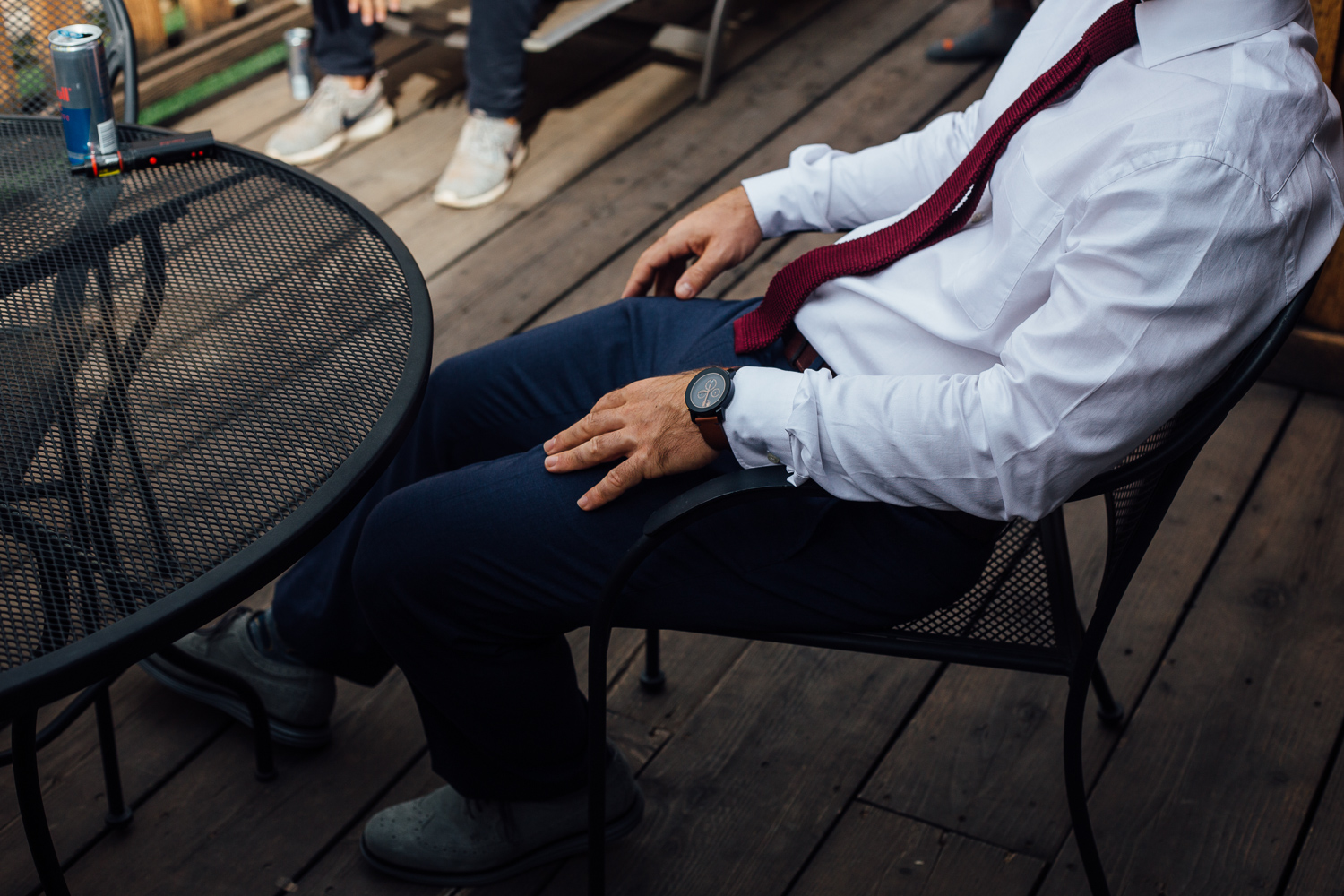 Lounging groom getting ready Red Cliffs Lodge Moab Utah