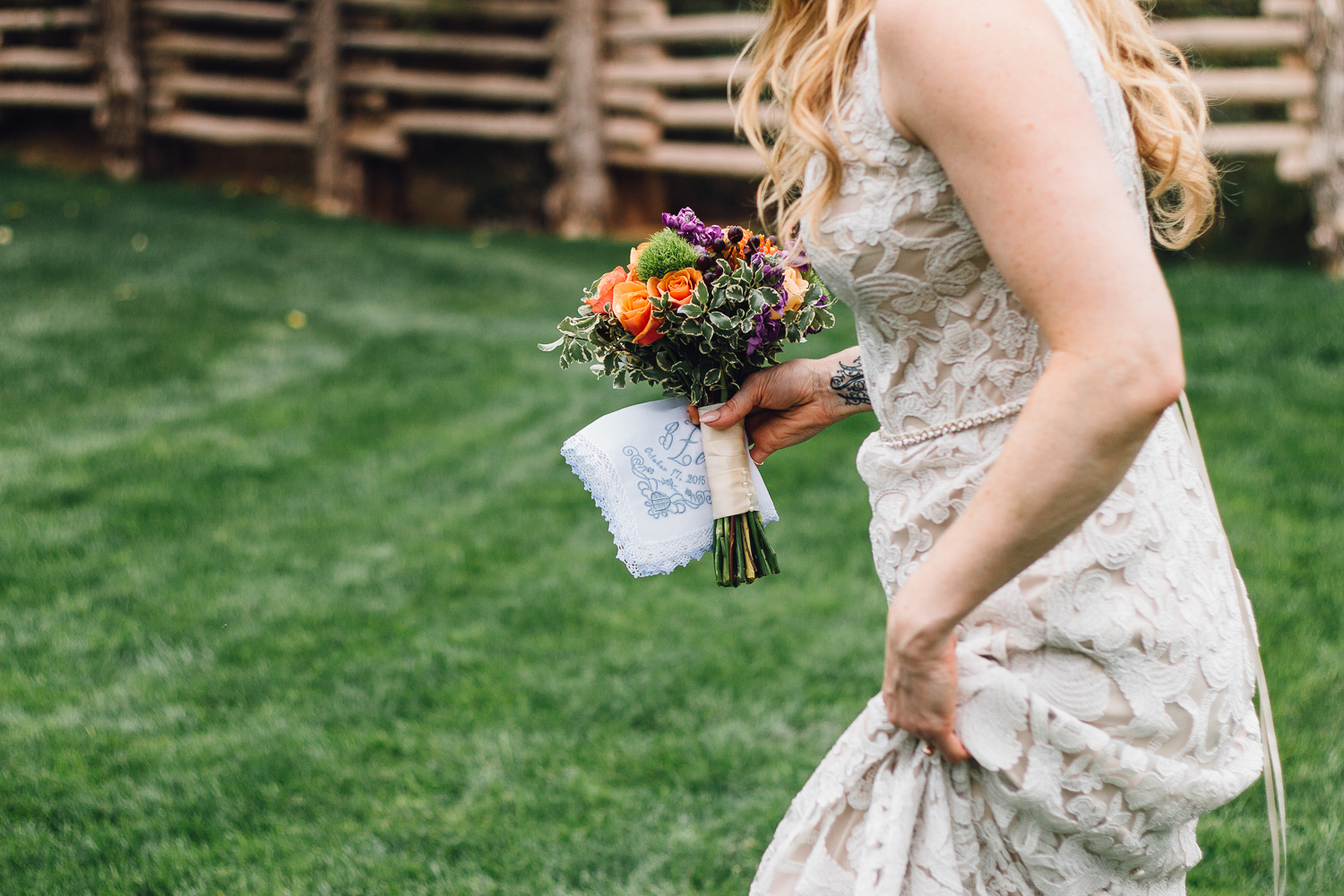 Candid bride detail Moab Utah destination wedding