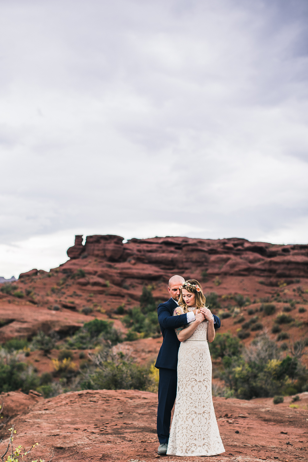 Red rocks bridal portrait Moab Utah wedding photography