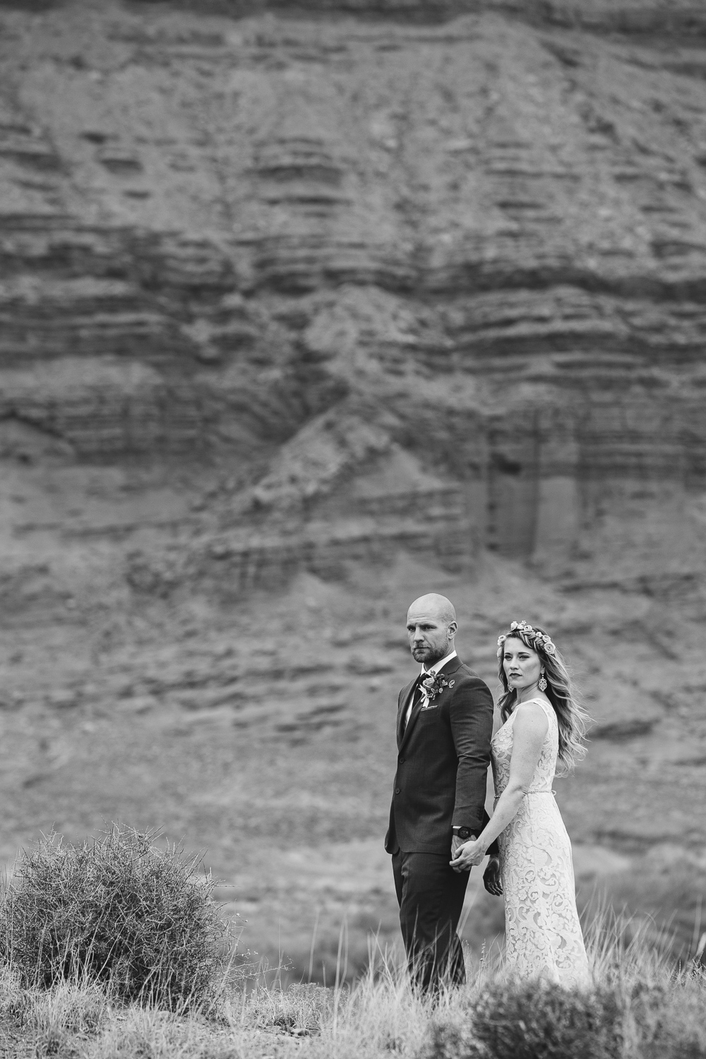 Fine art black and white bride and groom portrait Colorado river Moab Ut