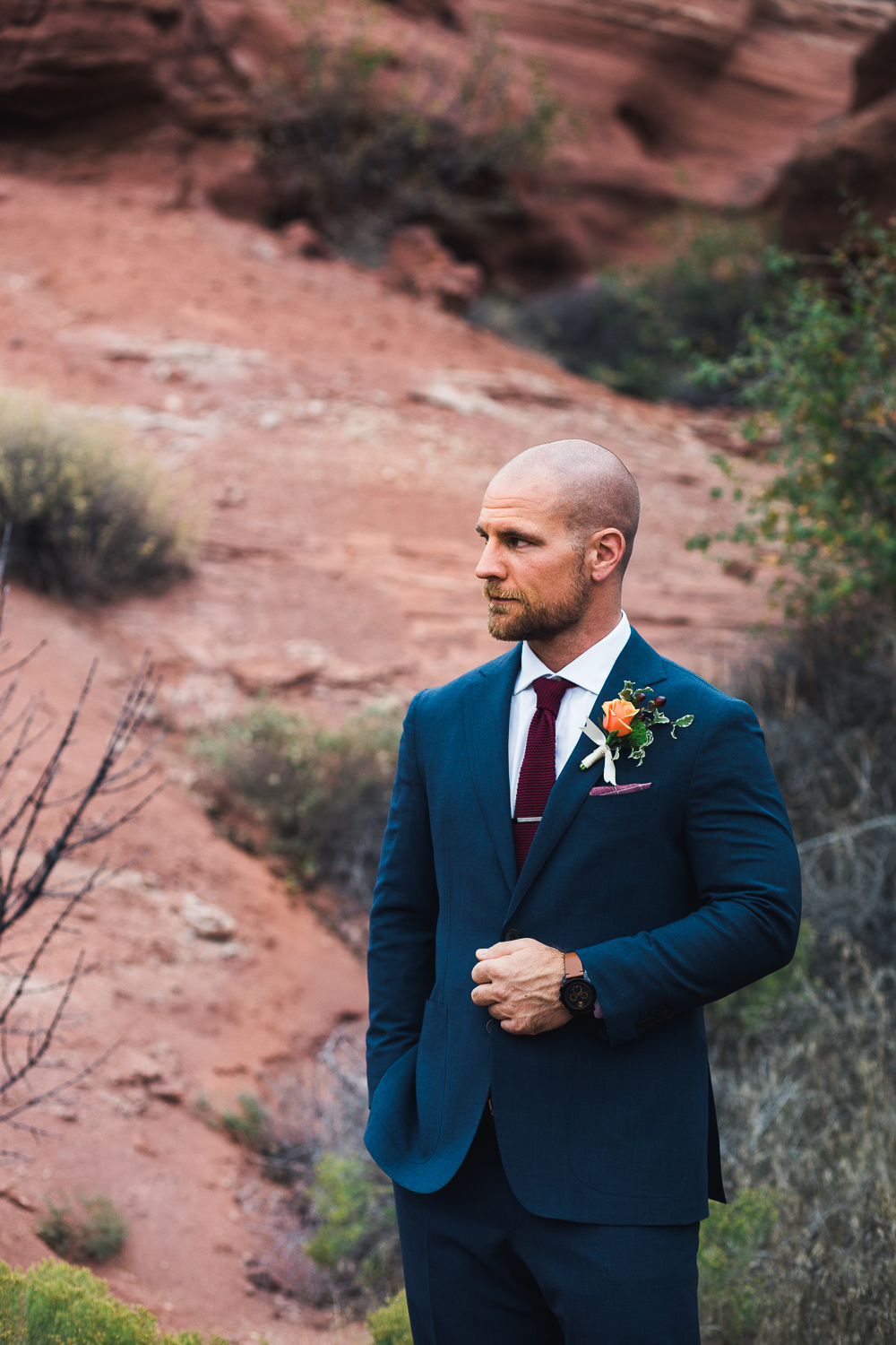 Groom formal portrait blue suit Moab Utah