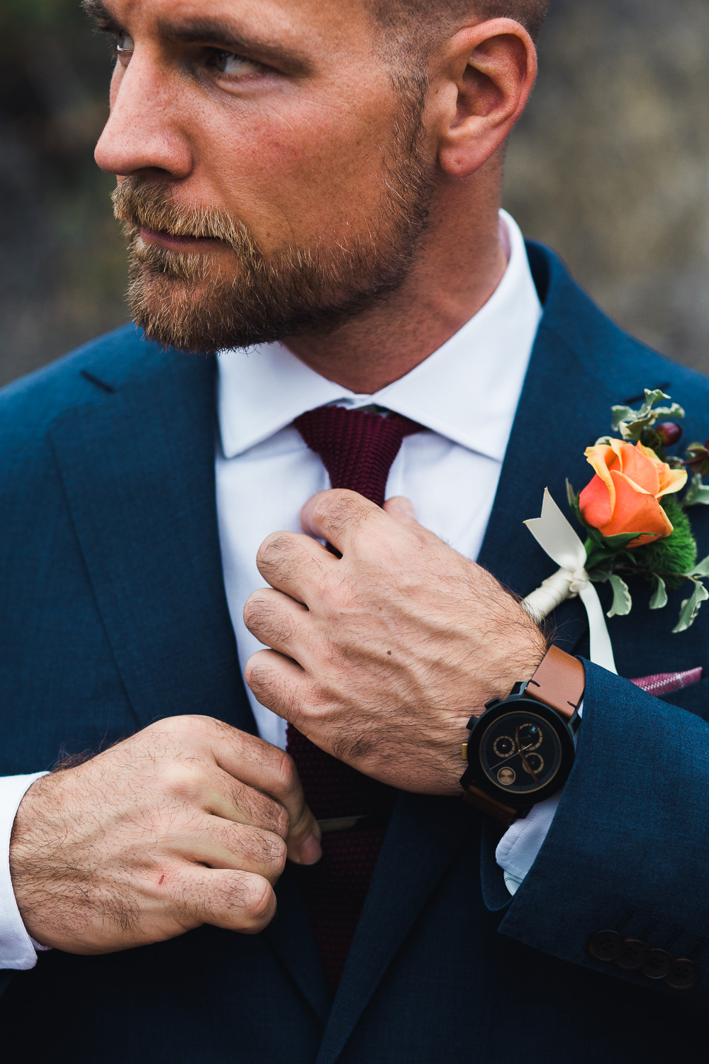 Blue suit maroon knit tie watch groom close up portrait details