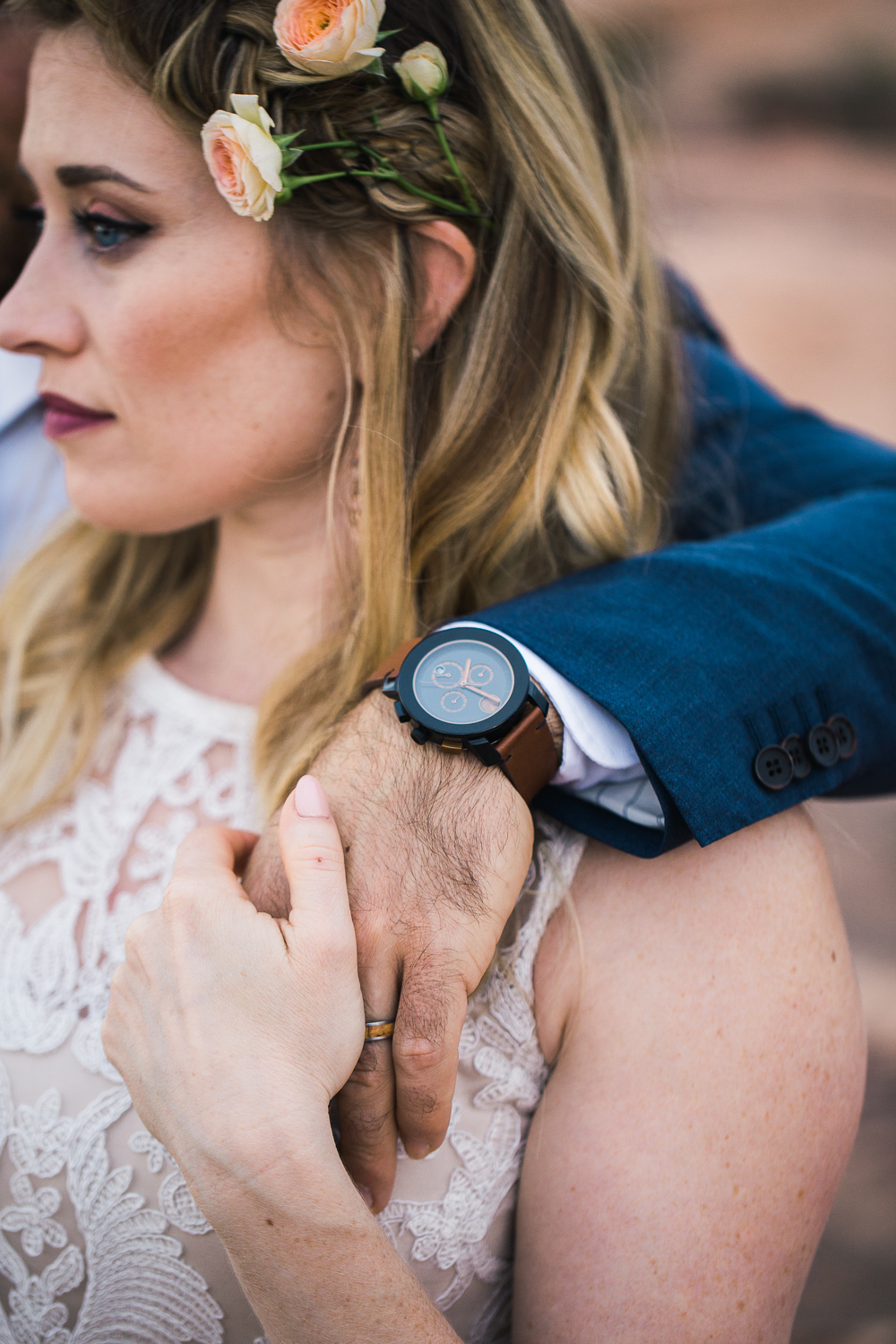 Bride groom watch detail portrait Arches National Park Utah destination wedding