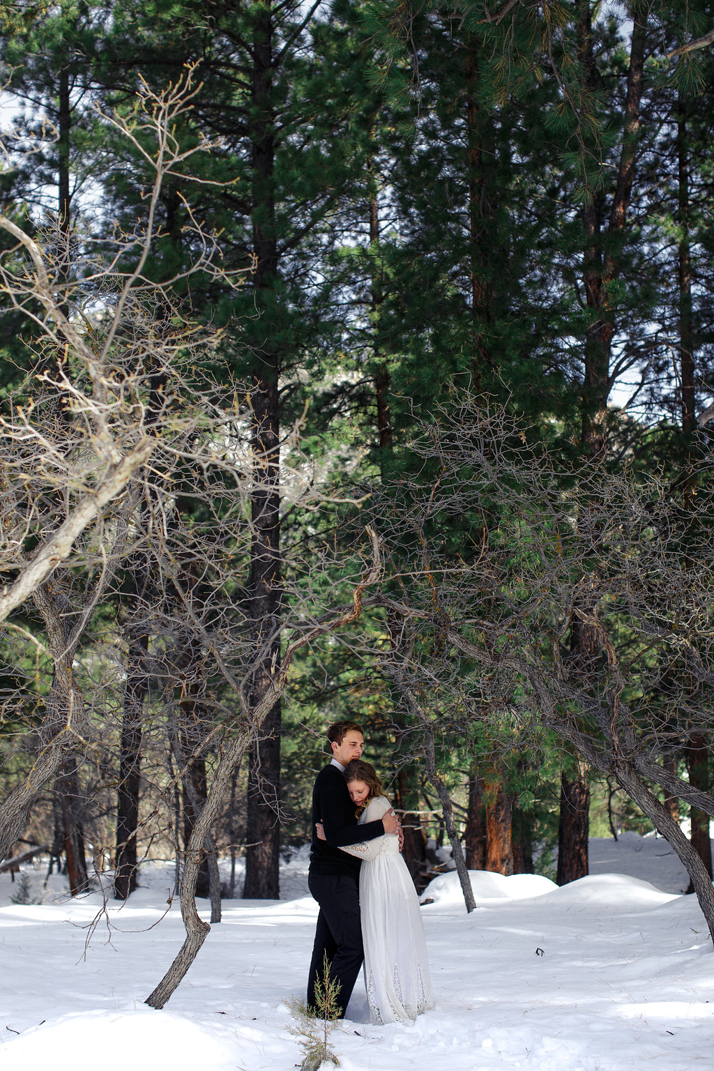 Forest snow mountains intimate pose photography wedding