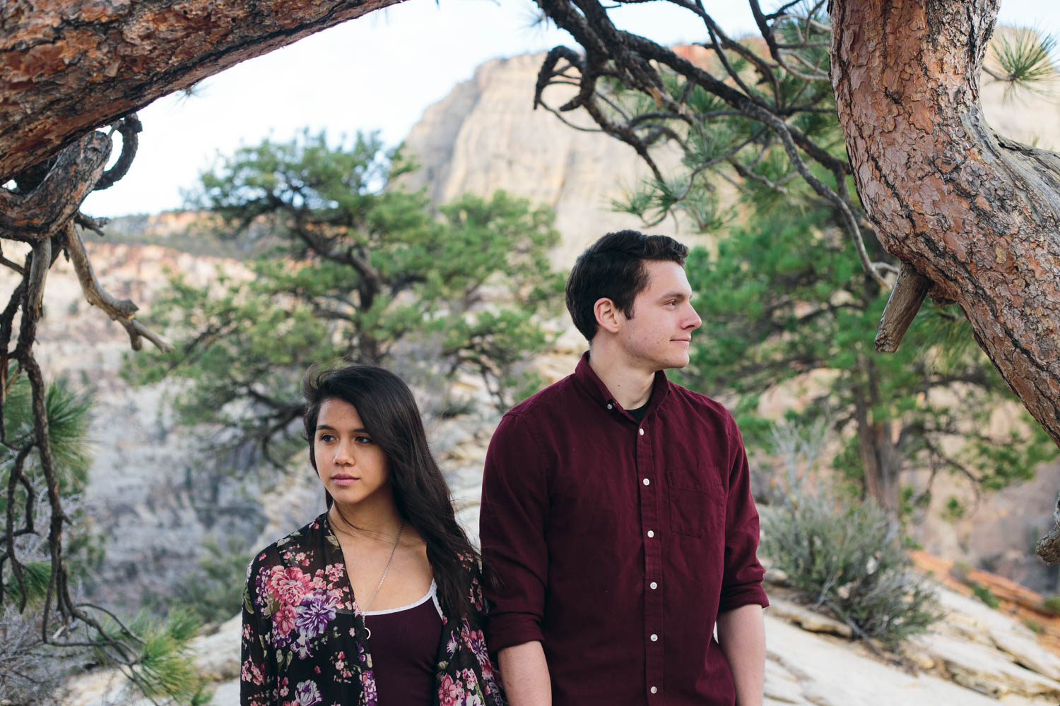 Zion adventure engagement photography Angels Landing