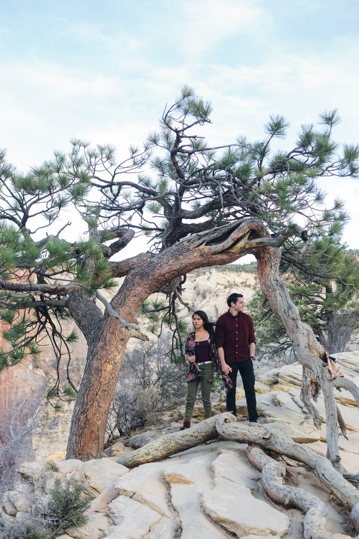 Zion National Park Angel's Landing Adventure Engagement session
