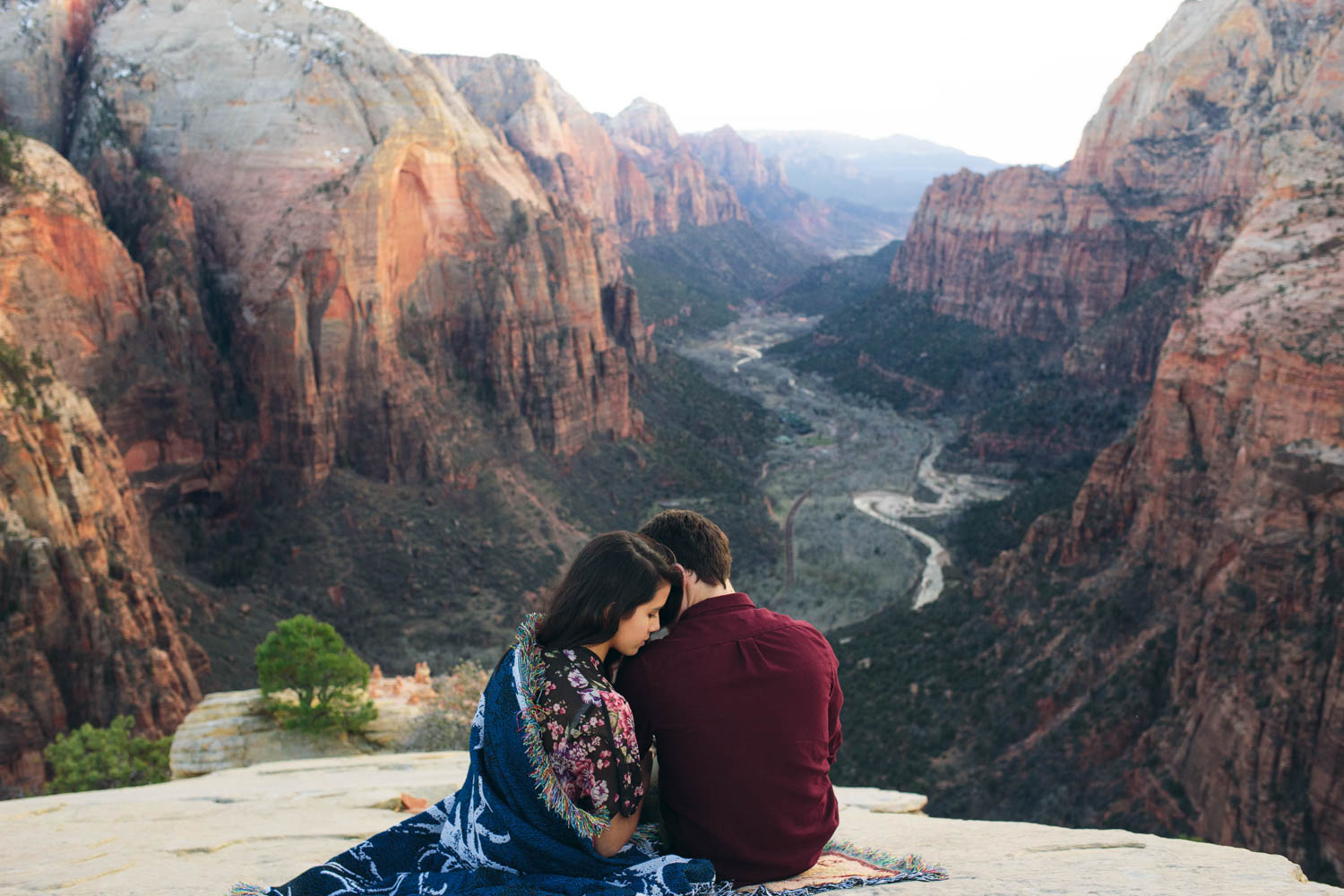 Zion Canyon Angels Landing view engagement photographers