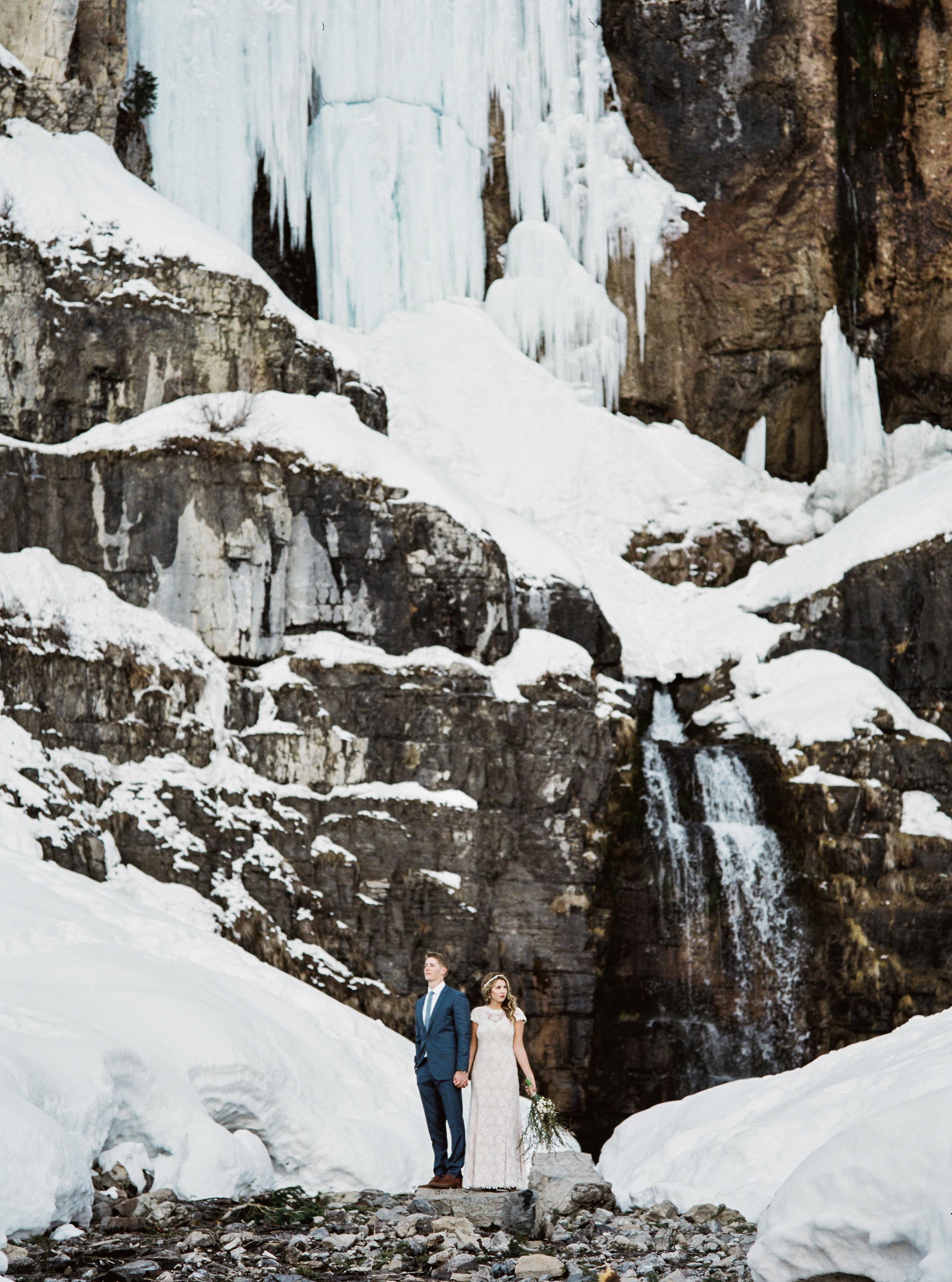 Bridal Veil Falls wedding bridals portraits film fuji 400h