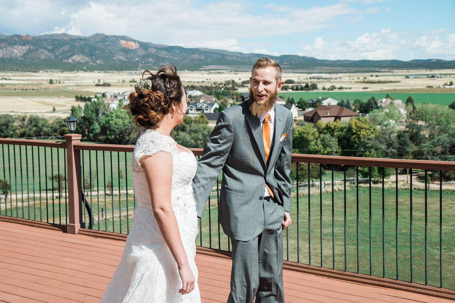 first look mountain cabin wedding