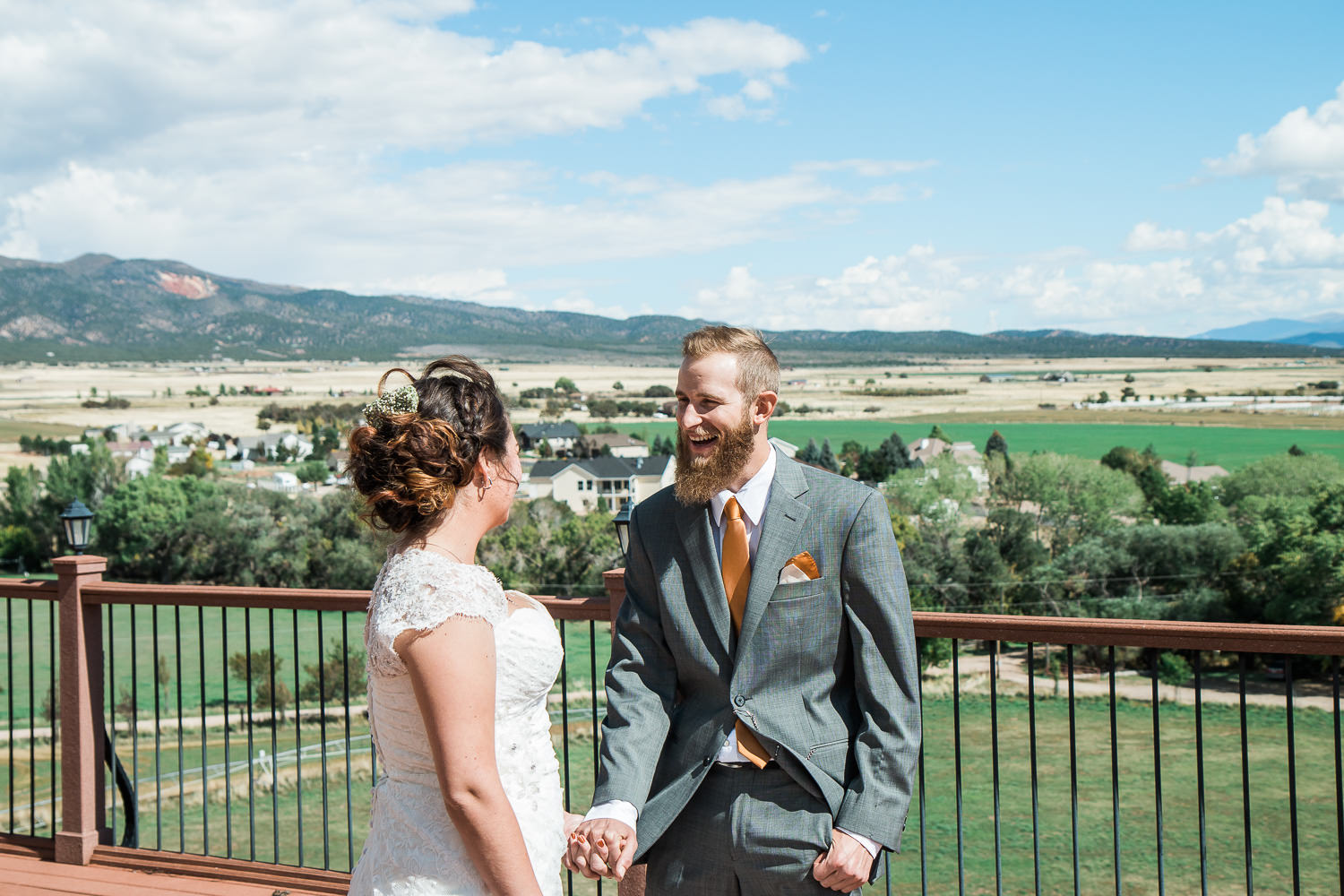 groom reaction first look mountain wedding utah