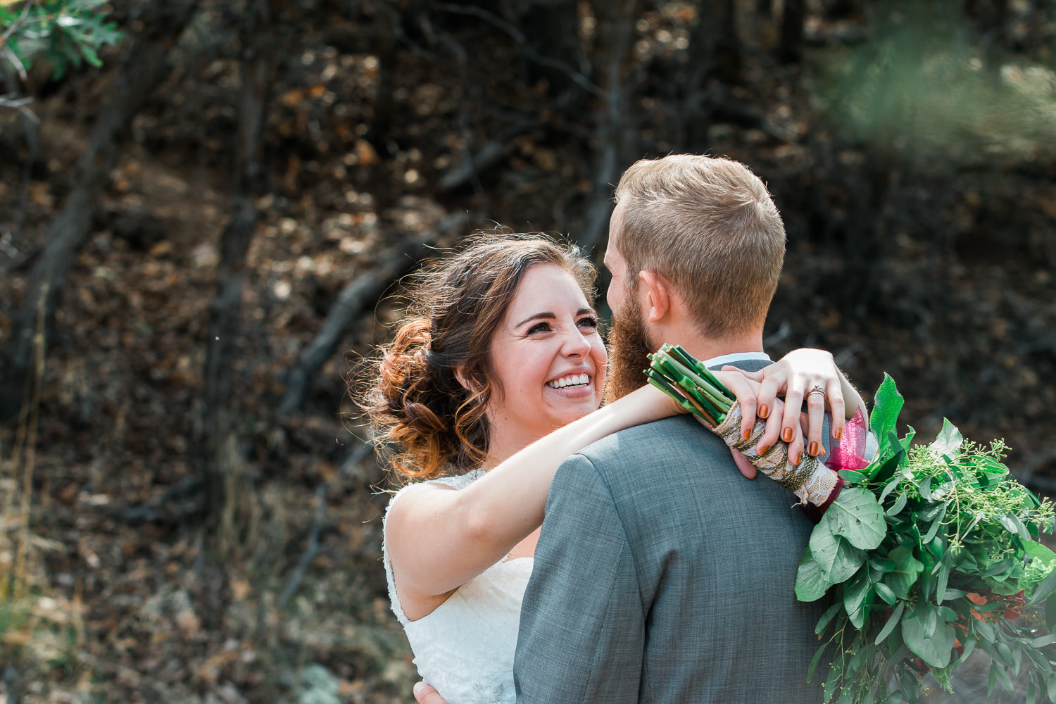 Happy bride and groom bridals utah christian wedding