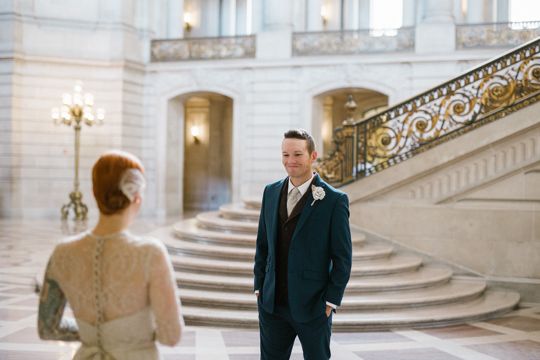 First look groom reaction san francisco city hall wedding