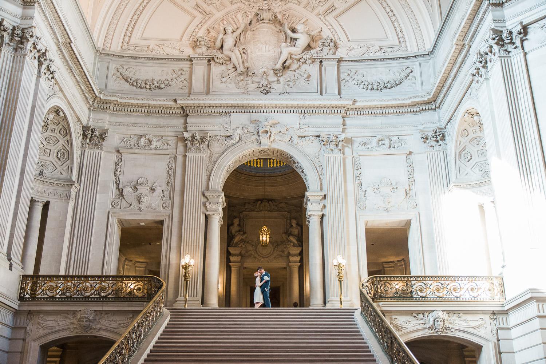 San Francisco California City Hall stairs rotunda wedding portraits