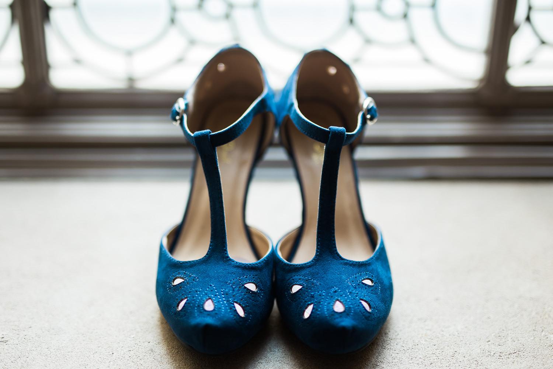 Something blue wedding tradition bride heels