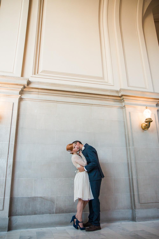Cute wedding portraits San Francisco City Hall