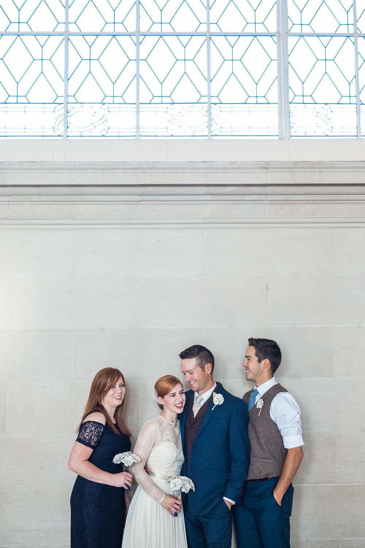 Intimate elopement wedding party San Francisco CA