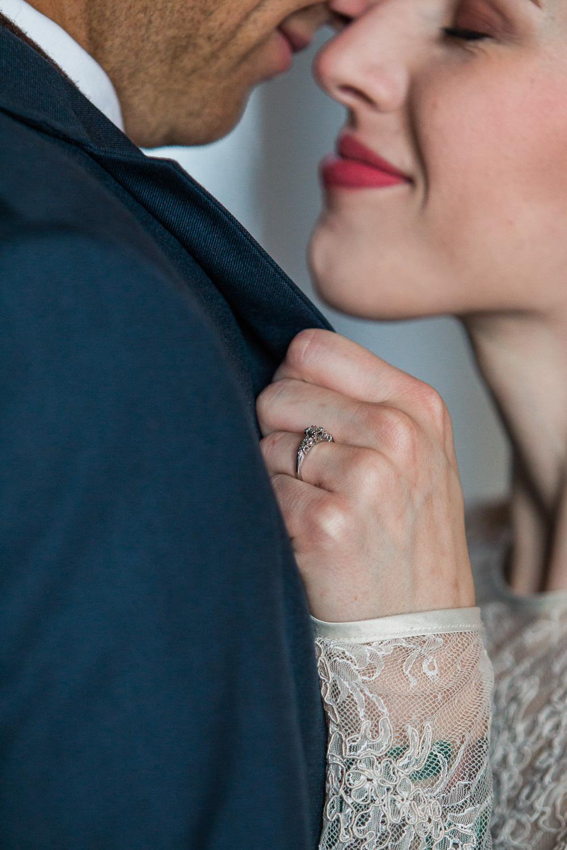 Vintage wedding ring tattooed bride full sleeve dress
