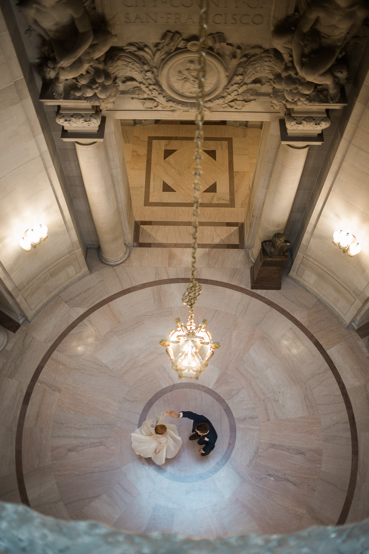 San Francisco City Hall Rotunda bride dress spinning Catherine Deane Waterfall dress BHLDN