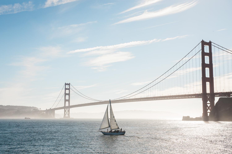 San Francisco Harbor Golden Gate Bridge Sailboat photo