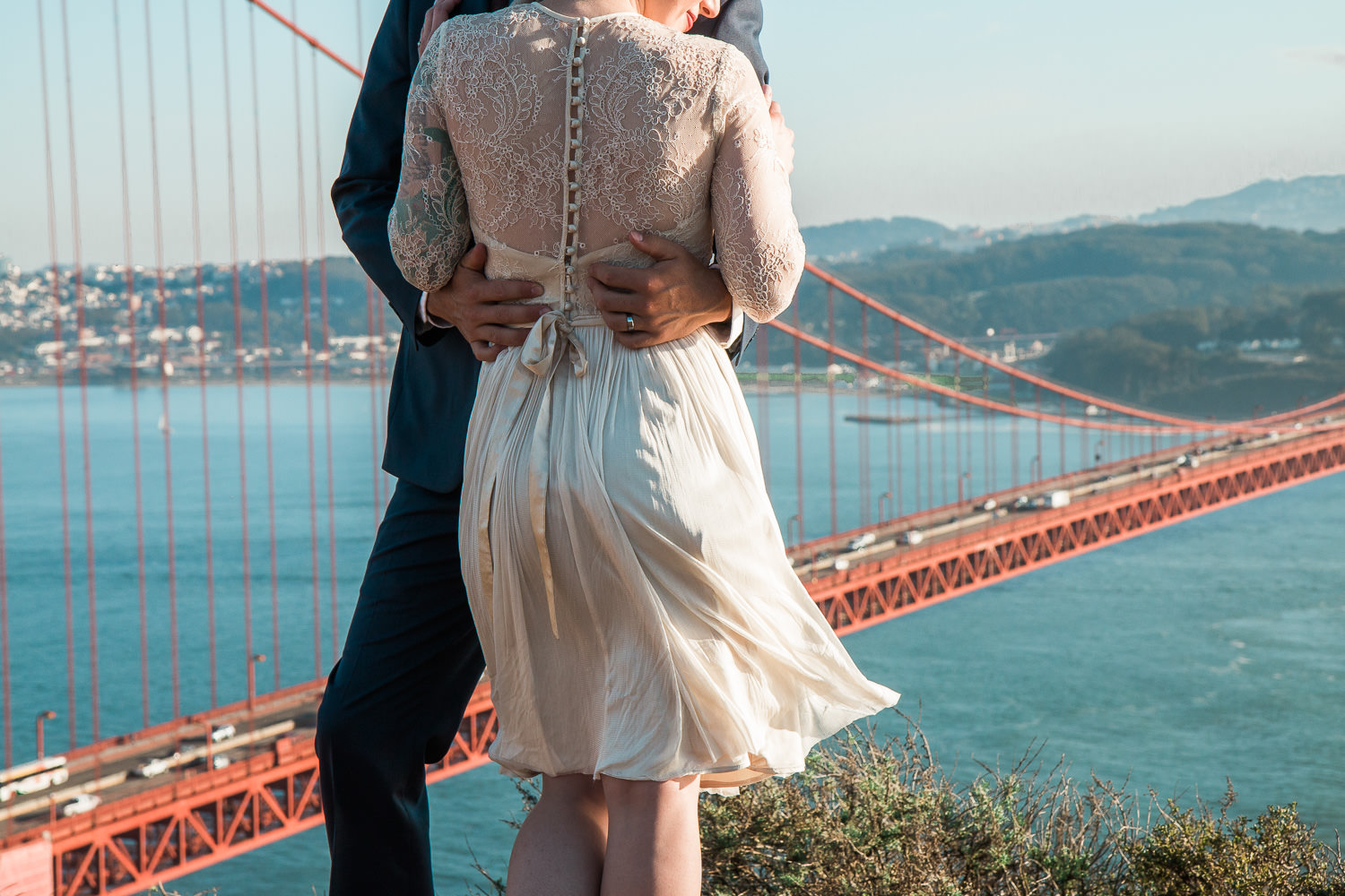 Golden Gate Bridge Parks and Rec viewpoint wedding photography
