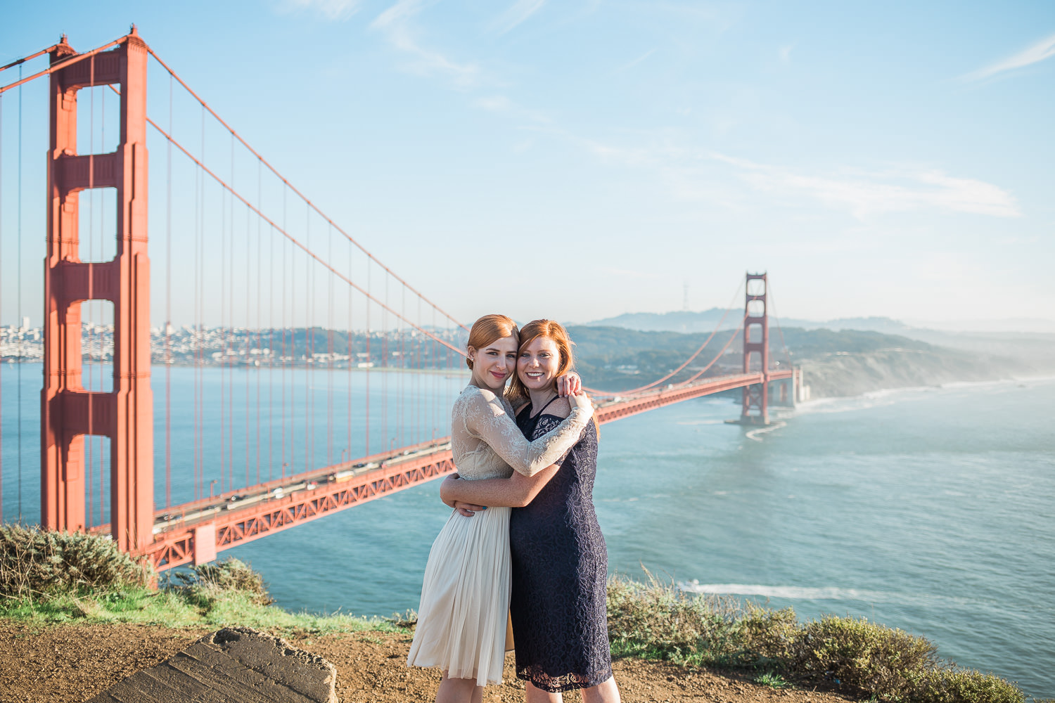 Parks and Recreation Golden Gate Bridge view bride and maid of honor portrait