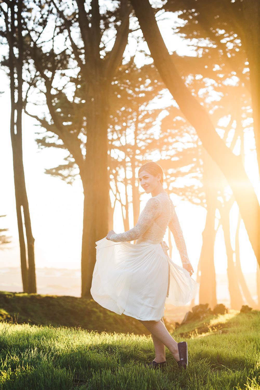 Lands End California Bride Tea length dress portrait Catherine Deane