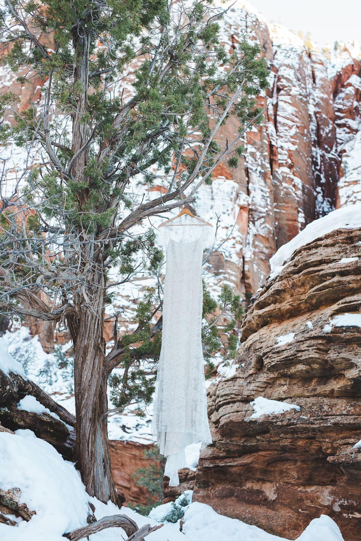 Alexandra Grecco Fiorella Gown Dove Grey Wedding Dress Zion National Park Utah