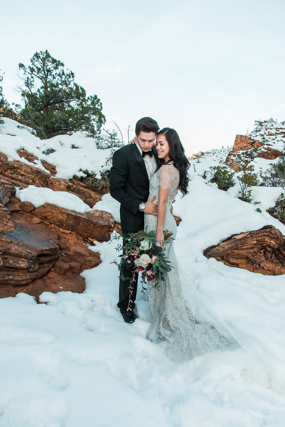 Husband and wife team elopement photographers Zion National Park Utah