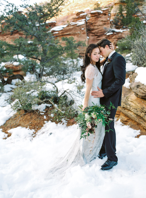 Fine art real film wedding and elopement photographer Zion National Park